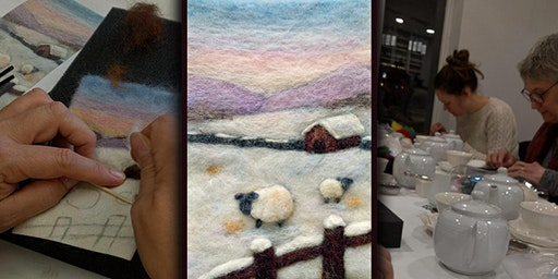 "Needle Felt Wool ""Painting"" of a Winter Scene - Feb 4"