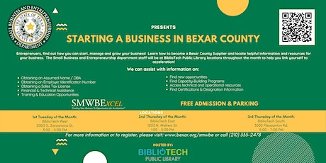 Starting a Business in Bexar County - BiblioTech West tickets
