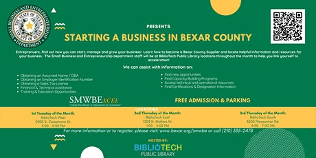 Starting a Business in Bexar County - BiblioTech East tickets
