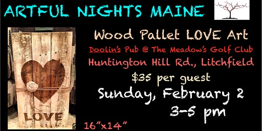 Wood Pallet Love Art at Doolin's Pub at The Meadow's Golf Club, Litchfield