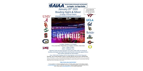 AIAA Los Angeles - Las Vegas Section Young Professionals Bowling Night tickets