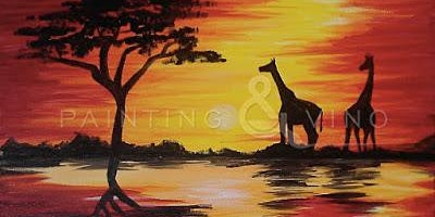 Paint and Sip - Painting, Pints and Pizza! - 'African Safari Sunset'