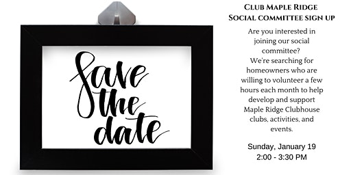 Social Committee Registration — The Club at Maple Ridge