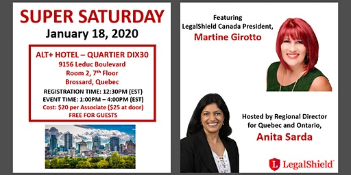 Kick-off to a New Decade! NEW LegalShield Super Saturday - January 18, 2020