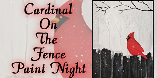 Cardinal on Fence with Norma's Art Works