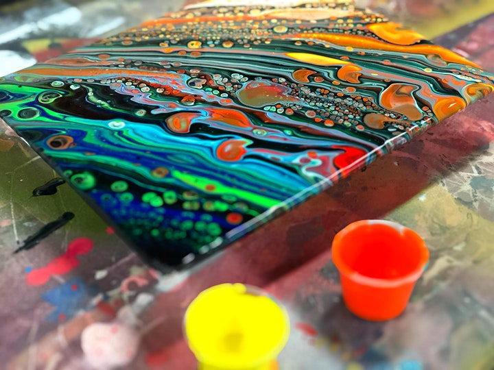 Paint Pouring Two Canvases SUNDAY 14.2.21 image