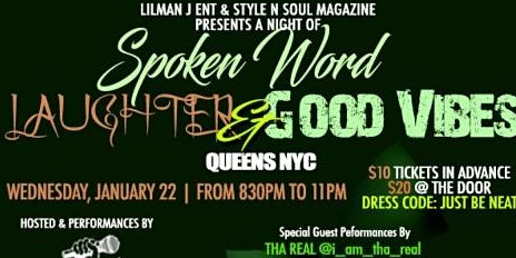 Lil Man J Ent & Style-n-Soul Mag presents a Night of Spoken Word
