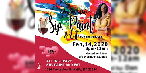 V Day Sip Paint and Eat for Singles