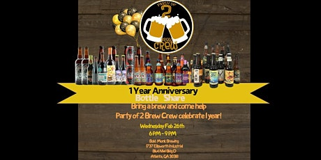 Party of 2 Brew Crew 1 Year Anniversary Bottle Share tickets