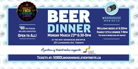 The SOBDL Presents - A BEER DINNER - at the NEW Woodhouse BrewPub! tickets
