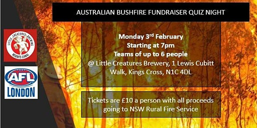 AFL London Quiz night in support of the Australia Bushfire  fund