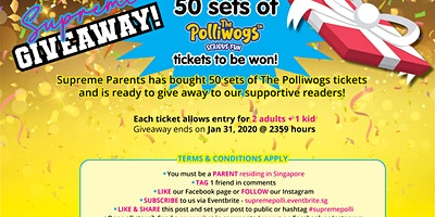 Join our mailing list + Stand a chance to win Polliwogs Tickets
