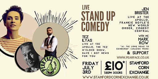 Live Stand up Comedy with Headliners Jen Brister and Tez Ilyas