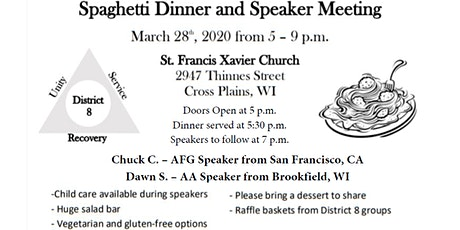 District 8 Spaghetti Dinner and Speaker Meeting 2020 tickets