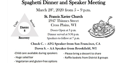 District 8 Spaghetti Dinner and Speaker Meeting 2020
