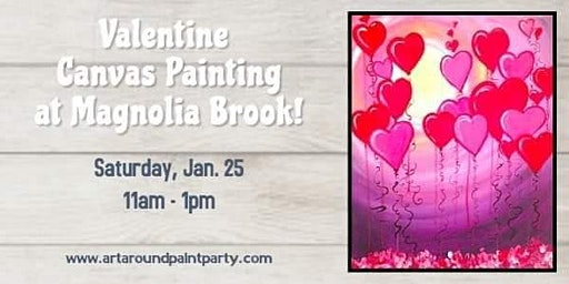 Valentine's Canvas Painting With Art Around Paint