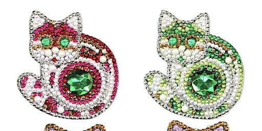 Pour & Paint Diamond Painting Cat Keychains