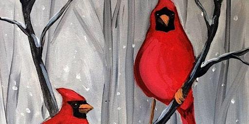 Winter Cardinals - Acrylic Painting
