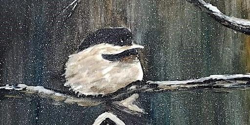Wine and Paint Night - Chickadee Acrylic Painting - BYOW