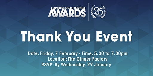 Thank You Event - Sunshine Coast Business Awards