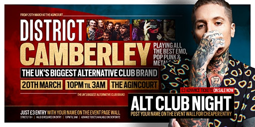 DISTRICT Camberley // Huge Alternative Club Night // Launching 20th March