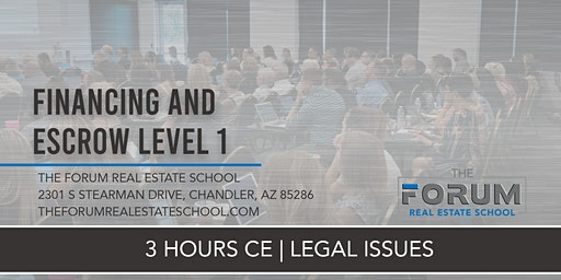 CE - Legal Issues - Financing and Escrow Level 1