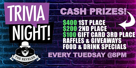 Trivia Night Tuesday's with BrainBash tickets