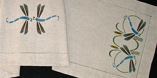 Stenciled Dragonfly Linen Runner