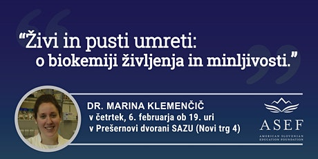 Dr. Marina Klemenčič: Živi in pusti umreti tickets