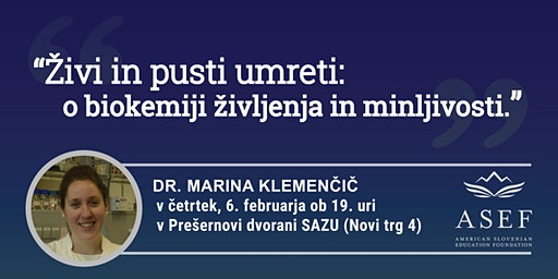 Dr. Marina Klemenčič: Živi in pusti umreti