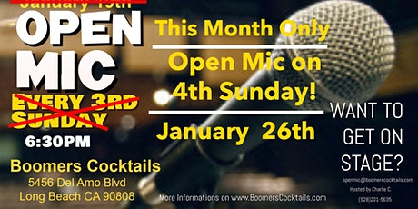Open Mic at Boomers Cocktails - New Date This Month Only! tickets