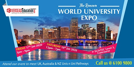 The Renown World Uni Expo @ Suntec Fri 17 Jan & Sat 18 Jan Level 3 Concourse tickets