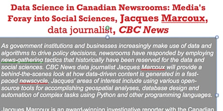 Data Science in Canadian Newsrooms, UofW, 1L07, JAN 29 2020 tickets