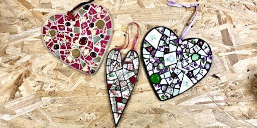 Saturday Class: Making Mosaic Hearts for Valentines Day with @JudyJamJar