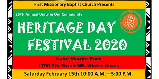 Vendor Registration: FMBC 26th Annual Unity in Our Community Heritage Day Festival