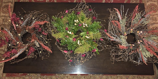 A Spring themed natural wreath class with tasting, glass of wine & snacks