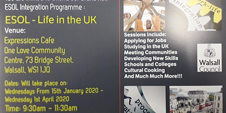 ESOL -Life in the UK classes and sessions tickets