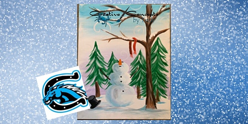 Snowman in the Forest Canvas Fundraiser Paint Night