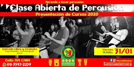 Clase Abierta de Percusión - Escuela EUMA - Presentación Curso 2020 entradas