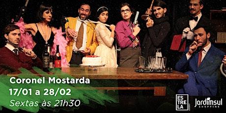 """DESCONTO! Espetáculo """"Coronel Mostarda com a Chave Inglesa Na Cozinha"""" no Teatro Jardim Sul ingressos"""