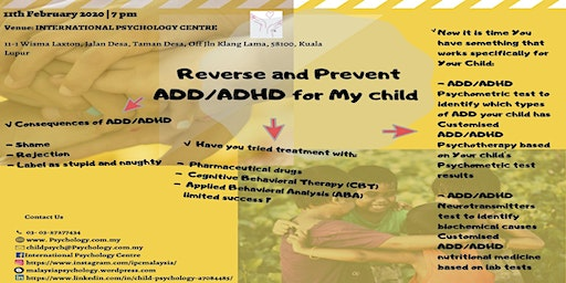 Reverse and Prevent ADD/ADHD for my Child