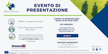 Presentazione Progetto Erasmus+ NGEnvironment e corso  formazione gratuito biglietti