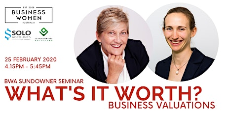 Perth, BWA Sundowner Seminar: What's it worth? Business Valuations tickets