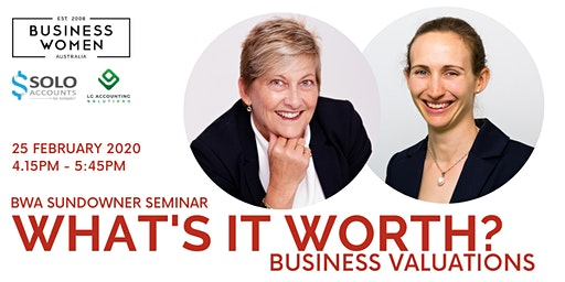 Perth, BWA Sundowner Seminar: What's it worth? Business Valuations