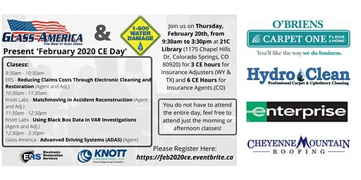 February 2020 CE Event Presented by 1-800 Water Damage and Glass America