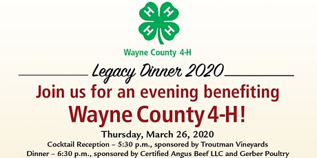 2020 Wayne County 4-H Legacy Dinner tickets