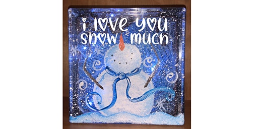 Snowman Love Valentine's  Glass Block Paint Sip Wine Art Maker Class
