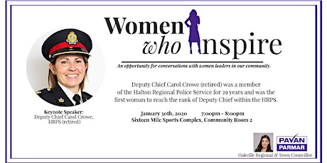 Women Who Inspire:  Deputy Chief Carol Crowe, HRPS (retired) tickets