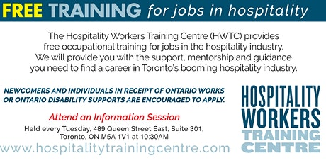 Information Session for Free Training in Hospitality  tickets