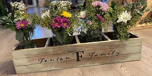 Wooden Box Centerpiece with Fresh Flowers